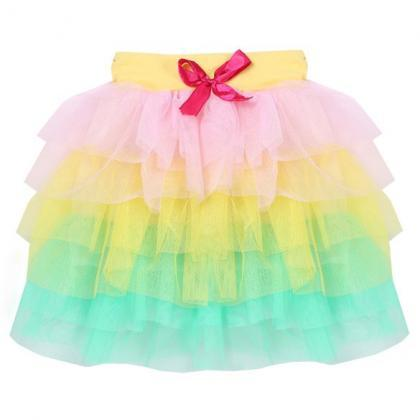 Fashion Baby Girls Ball Gown Mini Skirt Colorful Mesh Splice Tutu Skirt