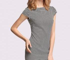 New Fashion Women's Ladies Cap Sleeve Grid Pattern Sexy Slim Fitting Bodycon Party Cocktail Dress
