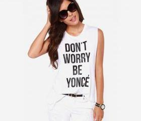 Stylish Lady Women's Casual Letter Print White O-neck Sleeveless T-shirt Top Tank