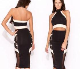 Sexy Strappy Knee Length Bodycon Bandage Top+ Pencil Skirt Vintage Style Ball Party Clubwear