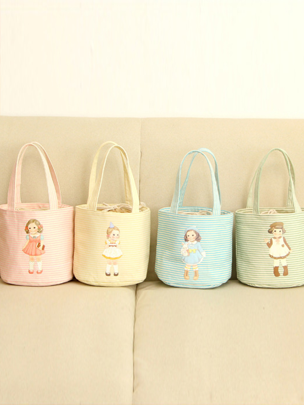 Handy Light Color Striped Baby Doll Pattern Lunch Bag