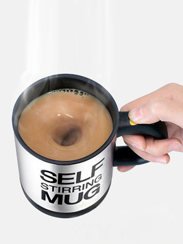 Letter Print Heat Retaining Electric Auto Stirring Coffee Cup