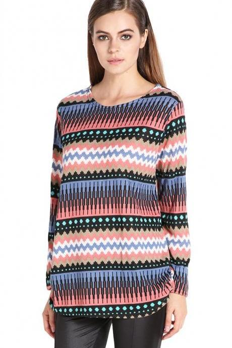 Women's Fashion Stylish Multi-Stripe Pattern Loose Long Sleeve Tops Blouse Long T-shirt