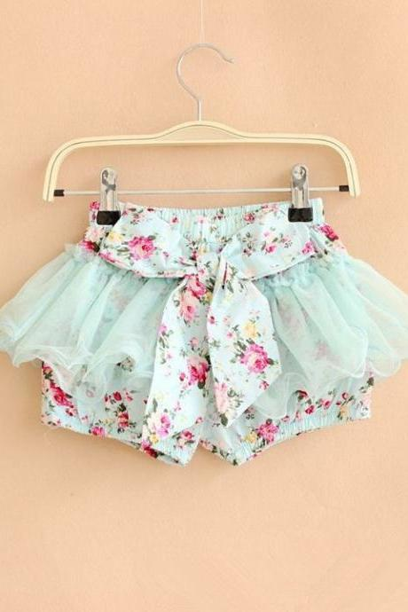 Summer Kid Girls Flower Print Bowknot Shorts Cute Mesh Short Culottes