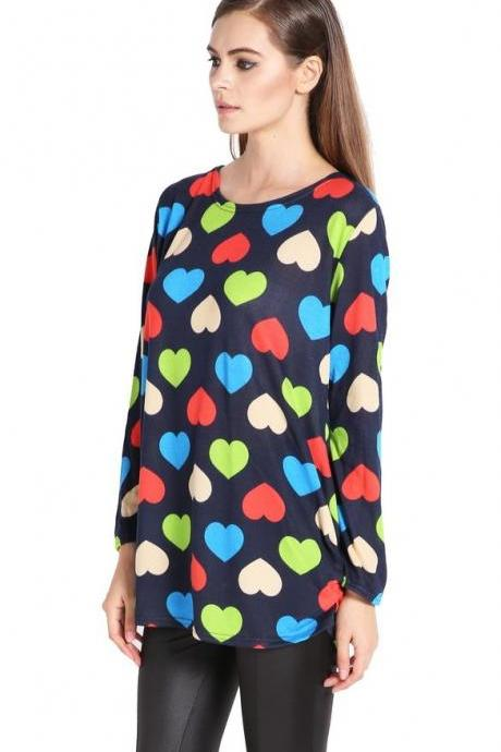 Women's Fashion Stylish Colorful Heart Print Loose Long Sleeve Tops Blouse Long T-shirt Dress