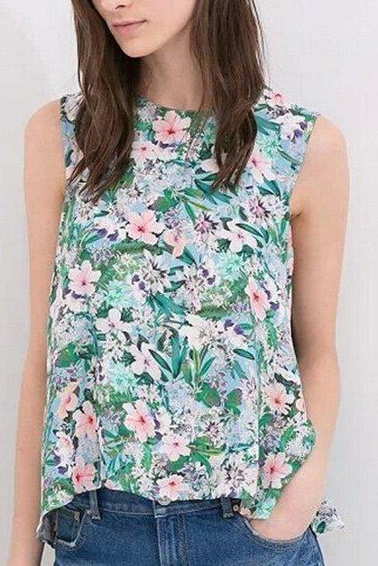 Summer Women Casual Loose Tank Tops Floral Sleeveless Blouse Tops