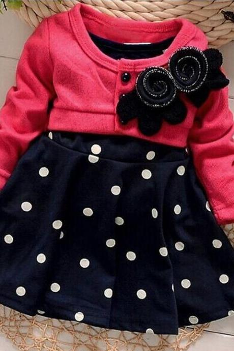 Spring-autumn New Arrive Flower Dot Full Sleeve Baby Girls Princess Dress