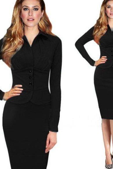 New Women's Sexy Style Long Sleeve Ladies Party Evening Dress