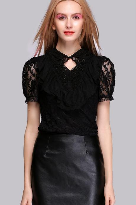 New Women's Ladies Fashion Short Sleeve Beading Lace Bodycon Shirt Blouse Tops