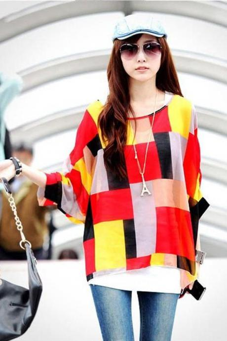 Summer Women Casual Chiffon Blouse Loose Batwing Sleeve Plaid Shirt Tops Oversized