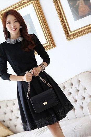 Doll Collar Long Sleeve Dress Plus Size XXL Women Dresses Elegant Dress Winter Spring With Belt