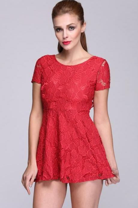 New Stylish Lady Women's Lace Short Sleeve O-Neck Sexy Backless Dress
