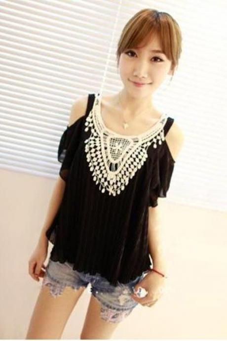 Ladies Off-shoulder Crochet Lace Pleated Chiffon Shirt Blouse Tops