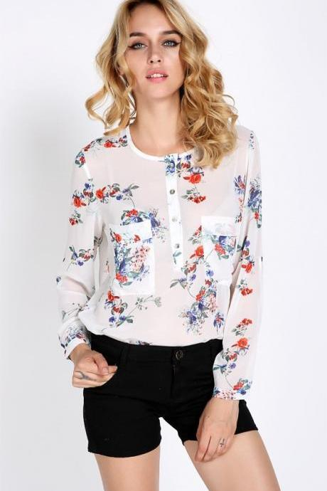 New Fashion Women's Chiffon Floral Print T-Shirt Blouse Long Sleeve Tops Vintage