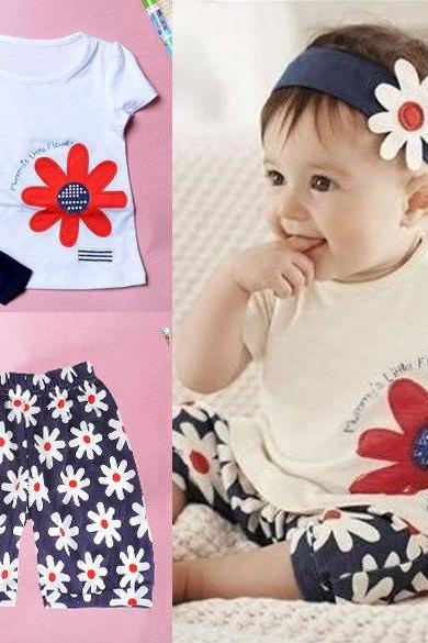 Baby Girls Kids T Shirt Headband Top Pants Shorts Flower 3pcs Outfit Clothes