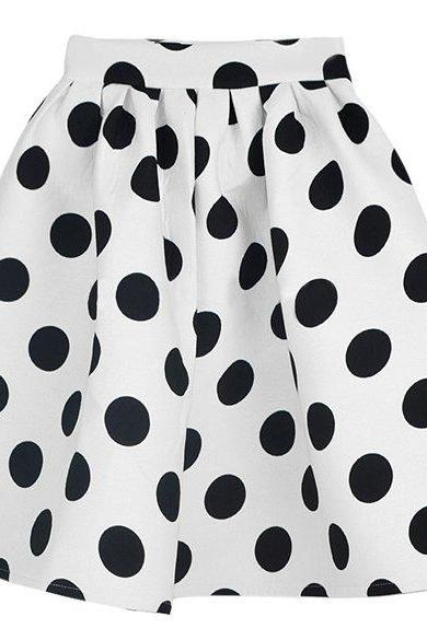 Knee-length Polka Dot A-line Skirt