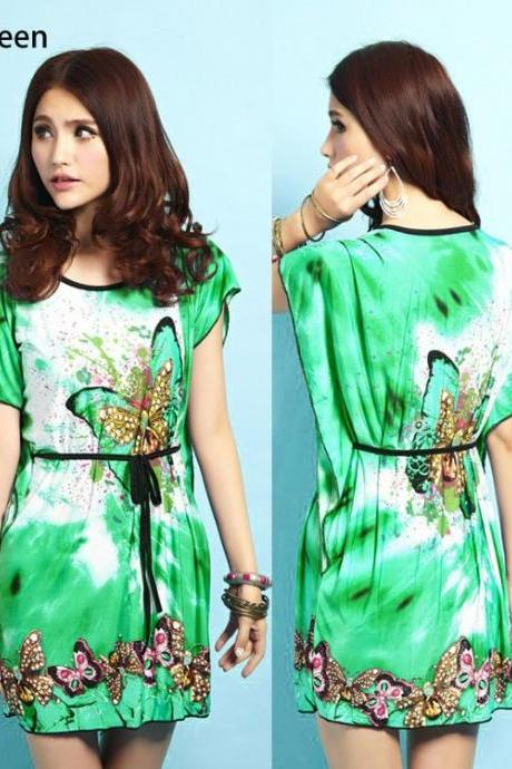 New Fashion Women Dresses Ice Silk Dress Loose Novelty Print Dress Autumn-Summer 4 Colors