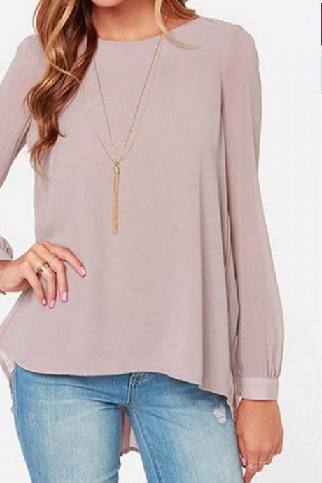 Stylish Lady Women's Casual Long Sleeve O-neck Loose-fitting Tops Chiffon Shirt Blouse