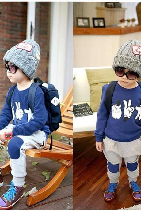 New Sport Suit Finger Pattern Baby Boy outfits 2PCS Sweatshirt + Pants Infant Clothes