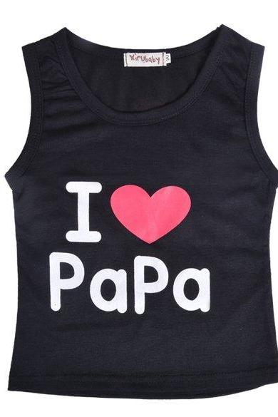 New Girls Boys Vest Sleeveless I LOVE Pa Ma Print Vest Tops Costume 5 Sizes