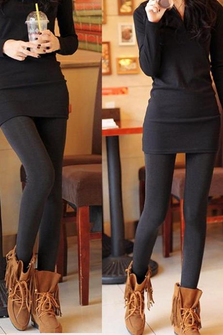 Women's Winter High Elastic High Waist Thicken Lady's Leggings Warm Pants Skinny Stretch Pants