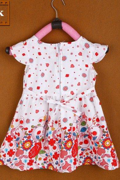 New Girl Kids Children's Wear Cap Sleeve O-neck Flower Printed Cute Lovely Casual Dress