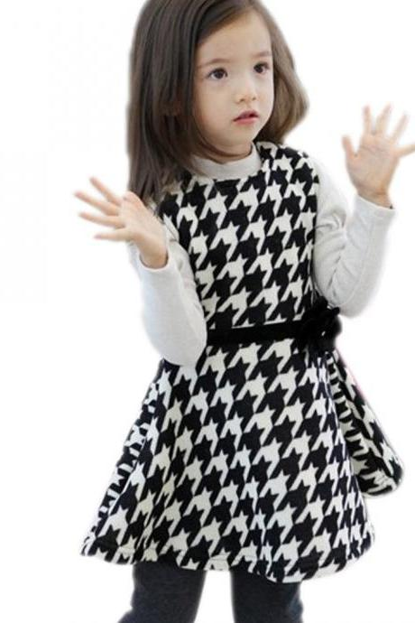 Fashion girl's Cute clothing Bird Grid Patterns Long Sleeve Dress Spring/Summer/Fall Birthday Gift