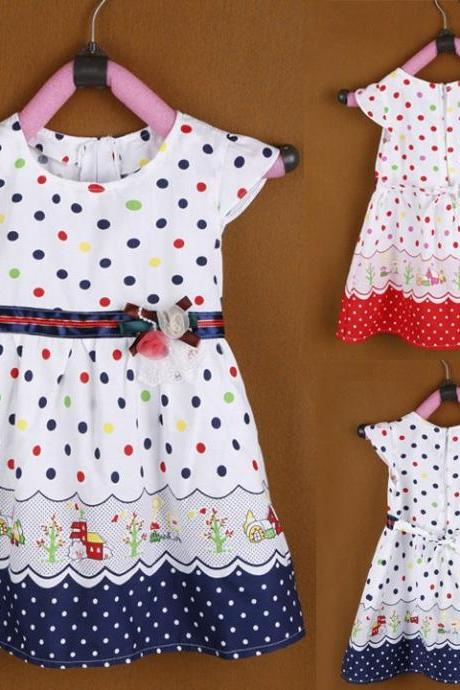 New Girl Kids Children's Wear Cap Sleeve O-neck Dots Printed Cute Lovely Casual Dress