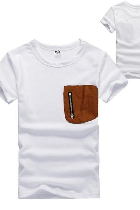 Baby Kids Children Boy's Wear Casual Cute Short Sleeve O-neck Zipper Pocket White T-Shirt