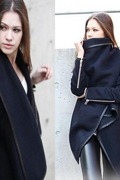 Womens Winter Woolen Overcoat Fashion Trench Woolen Coat