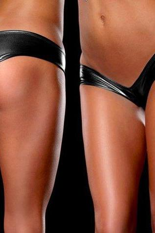 Women's Sexy Lingerie Shine Metallic Hot Pants Shorts Panty Thong One Size