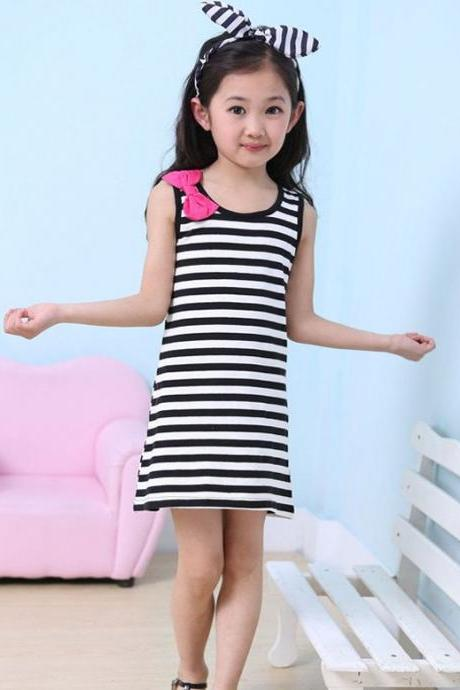 Baby Kids Children Sweet Girl's Wear Casual Cute Sleeveless Stripe Bowknot Short Vest Dress Sundress