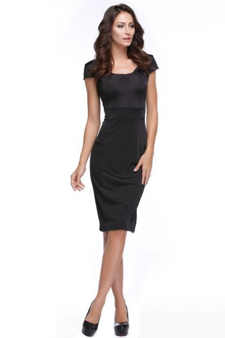 Fashion Women's Cap Sleeve O-Neck Bodycon Business Party Pencil Dress