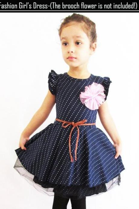 New Girls Kids One Piece Dress Tutu Dress Dot Pattern Birthday Gift Costume Dark Blue