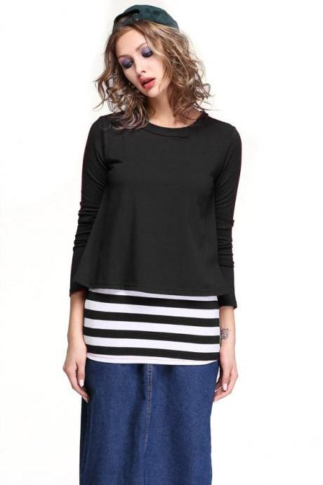 Women Long Sleeve Striped Cotton Tops T-Shirts Casual Tee Blouse