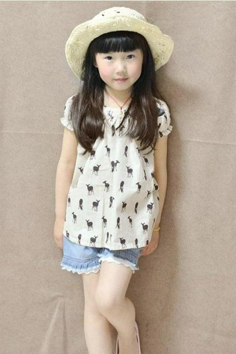 Baby & Kids Girls Casual Dresses Cotton Children's Clothing Baby Princess Dress Puff Sleeve 2-8 Deer Print