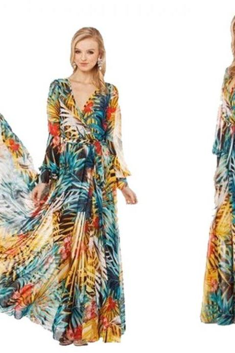 Womens V-neck Summer Tropical Flower Print Chiffon Long Sleeve Temperament Long Dress