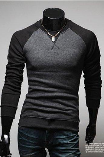 New Fashion Men's Round Neck Long Sleeved Color Stitching T-shirt Slim T-shirt 3 Colors
