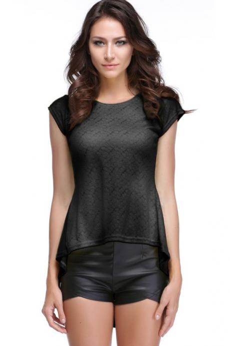 Women's Vintage Style Lace Peplum Hem Slim Casual Party Tops T-shirt