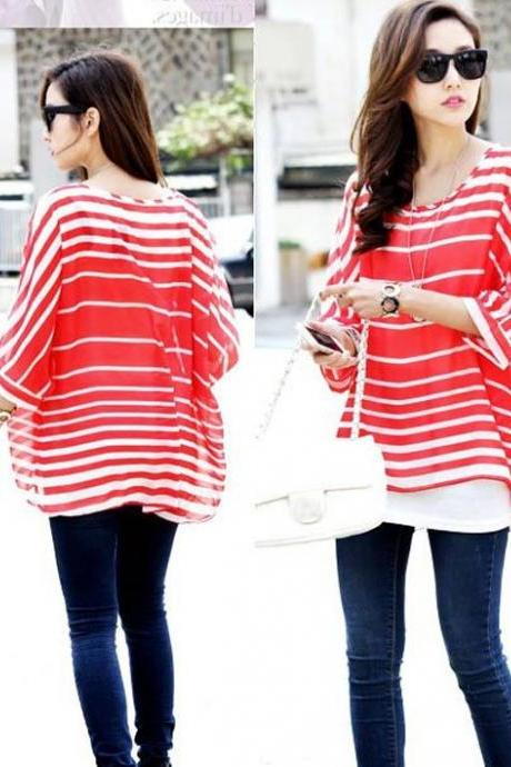 Women's Fashion Batwing Sleeve Red Stripe Print Bohemian Chiffon T-shirt Top Blouse