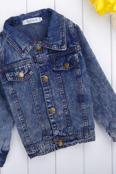 Girls Kids Children's Wear Long Sleeve Fashion Top Turn-down Collar Fancy Denim Coat Outwear