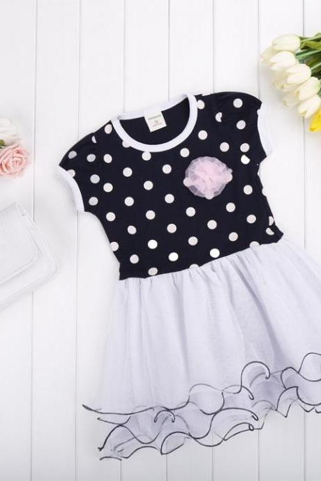 Baby Girls Cute Short Sleeve O-Neck Dot Patchwork Ball Gown Floral Casual Party Dress