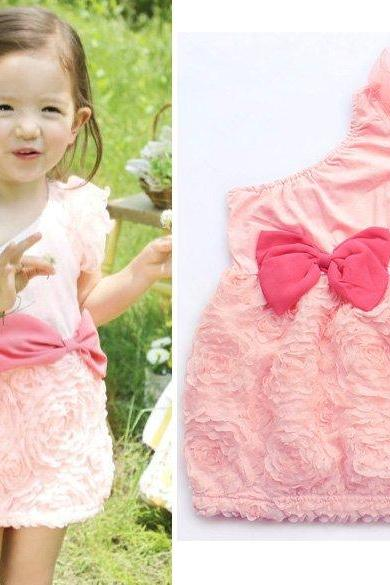 Girls' Dresses Summer One-shoulder Princess Dress Big Bow dress Baby Girl Clothing