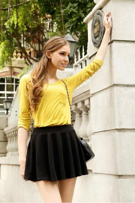 Mid-Rise Elastic Waist Ruffled Design Casual Skirt For Ladies