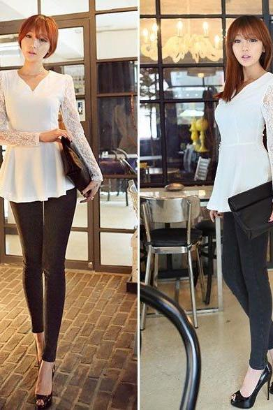 Women Long Sleeve Lace Chiffon Shirt Flared Blouse Top Sexy T-shirt L XL 2XL