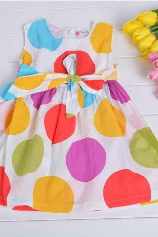 Baby Girl Kids Children's Wear Sleeveless Zipper Big Dots Printed Dress