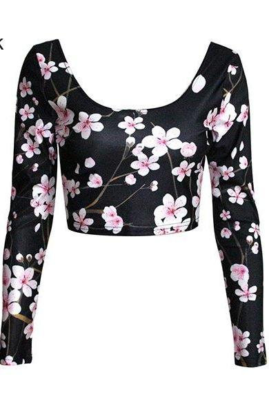 Scoop Long-sleeved Crop Top with Assorted Prints