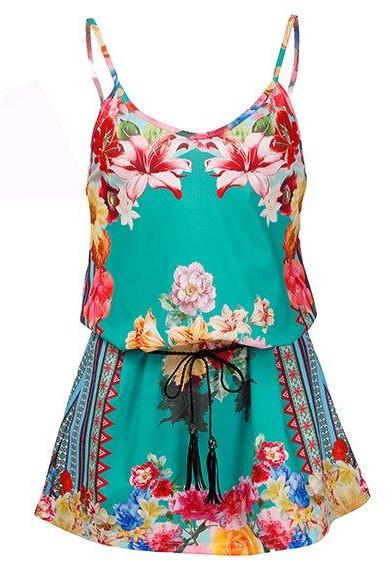 Stylish Lady Women Vintage Style V-Neck Strap Floral Belt Decor Casual Club A-Line Dress