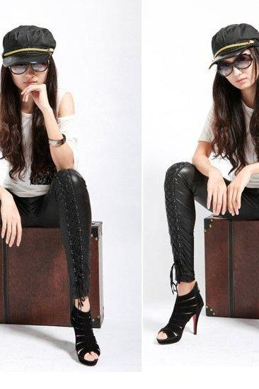 Women's Synthetic Leather Stitching Embroidery Bundled Hollow Lace Leggings Pantyhose