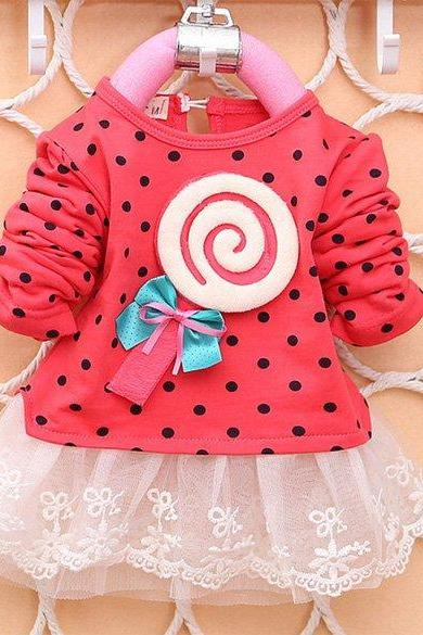 New Baby Dress Baby Infant Sweet Cute Full Sleeve Polka Dot Lace Dress with Bow-knot